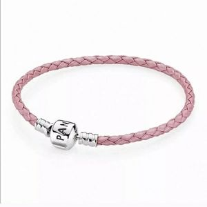 Pandora Pink Leather Woven Bracelet 7""